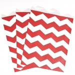 Creative Converting Classic Red Chevron Paper Treat Bags (10) Red/White