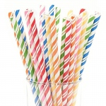 Creative Converting Assorted Striped Paper Straws