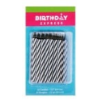 Birthday Express Black Stripe Birthday Candles (24) Black