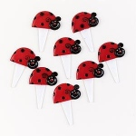 Ladybugs Food Picks (12): Red/Black, Birthday