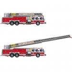 Fire Truck with Jointed Ladder Cutout: Multi-colored, Birthday