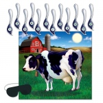 Pin the Tail On the Cow Game: Multi-colored, Birthday