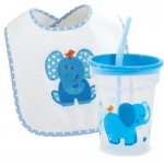 Birthday Express Blue Elephant Bib and Tumbler Gift Set