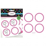 Scalloped Paper Labels- Bright Pink (20): Pink, Birthday