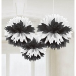 Amscan Black & White Fluffy Decorations
