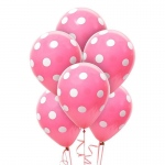 Hot Rose and White Dots Latex Balloons: Pink, Birthday