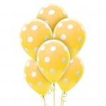 Gold and White Dots Latex Balloons: Gold, Birthday