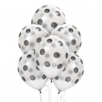 Silver with Black Dots Latex Balloons: Silver, Birthday