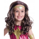 Batman v Superman: Dawn of Justice - Kids Wonder Woman Wig - One-Size: Brown, One-Size, Everyday, Female, Child