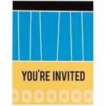 Birthday Express Blue, Black and Yellow Invitations (8) Black/Blue
