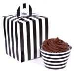 Black and White Striped Cupcake Wrapper & Box Kit: Birthday