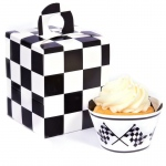 Black and White Checked Cupcake Wrapper & Box Kit: Birthday