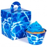 Blue Lightning Cupcake Wrapper & Box Kit: Birthday