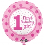 1st Birthday Girl Foil Balloon: 1st Birthday