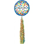 Happy Birthday Streamer AirWalker Foil Balloon: Multi-colored, Birthday