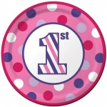Creative Converting 1st Birthday Girl Sweet Stripes Dinner Plates (8)