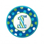 Creative Converting 1st Birthday Boy Sweet Stripes Dessert Plates (8)