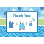 Baby Shower Boy – Shower With Love Thank You Notes (8): White/Blue, Baby Shower