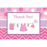 Baby Shower Girl - Shower With Love Thank You Notes (8): Multi-colored, Baby Shower