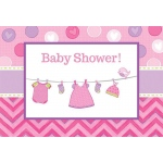 Baby Shower Girl - Shower With Love Invitations (8): Multi-colored, Baby Shower