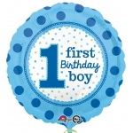 1st Birthday Boy Foil Balloon: Multi-colored, 1st Birthday