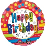 Bright Happy Birthday Foil Balloon: Multi-colored, Birthday