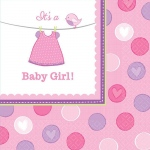Baby Shower Girl Shower With Love Lunch Napkins (16): Multi-colored, Baby Shower