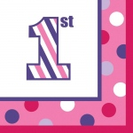 Creative Converting 1st Birthday Girl Sweet Stripes Beverage Napkins (16)