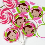 Birthday Express Pink Mod Monkey Deluxe Lollipop Favor Kit Pink