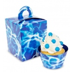 Blue Lightning Cupcake Boxes  (4): White/Blue, Birthday