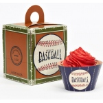 Baseball Time Cupcake Wrapper & Box Kit: Birthday