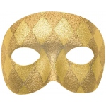 Mardi Gras Gold Harelquin Adult Mask: Gold, One-Size, Mardi Gras, Unisex, Adult