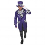Black and Purple Gothic Mad Hatter Adult Costume - Large
