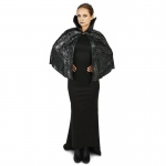Dream Weavers Costumers Black Foil Print Spiderweb Adult Capelet One Size One-Size