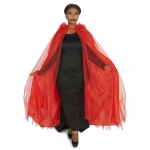 Hooded Lined Red Mesh Adult Plus Cape: One-Size, Everyday, Adult