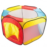 Hexagon Pop Up Ball Pit Tent with Mesh Netting and Case