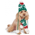 Christmas Knit Pom Pom Hat and Scarf Pet Costume S/M - Small/Medium