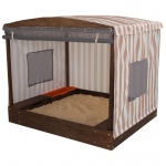 Kidkraft Cabana Sandbox - Oatmeal & White Stripes: Roll-up mesh cover with windows