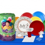 BuySeasons Baby-Q 16 Guest Party Pack and Helium Kit