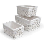 Badger Basket White Nursery Baskets with Liners: Set of 3