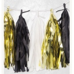 BuySeasons Tissue Garland - Black, White, Gold