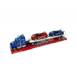 Friction Powered Semi Truck & Race Cars Set: assorted colors