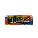 Friction-Powered Semi-Truck With Motorcycles Set: assorted colors