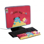 Blancho  Embroidered Applique Fabric Art 17 inch Monitor Screen Cover & Wrist Rest Pad - Blue Bear-Red