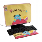 Blancho  Embroidered Applique Fabric Art 17 inch Monitor Screen Cover & Wrist Rest Pad - Blue Bear-Yellow