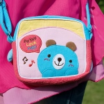 Blancho  Embroidered Applique Swingpack Bag Purse / Wallet Bag  - Blue Bear