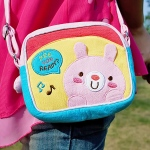 Blancho  Embroidered Applique Swingpack Bag Purse / Wallet Bag  - Pink Rabbit