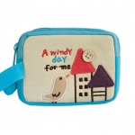 Blancho  Embroidered Applique Pouch Bag / Cosmetic Bag  - A Windy Day For Me