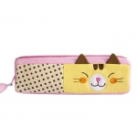 Blancho  Embroidered Applique Pencil Pouch Bag / Cosmetic Bag  - Polka Dots Cat