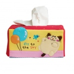Blancho  Embroidered Applique Fabric Art Tissue Box Cover Holder  - Cat & Balloon